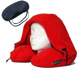 ±0 0 TELESHOP New Memory soft object U Shape Hooded Travel Pillow Set With Sleeping Mask & Earplugs-Red