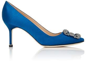 Manolo Blahnik Women's Hangisi Satin Pumps $965 thestylecure.com
