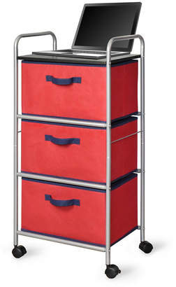 Bintopia 3-Drawer Cart with Mdf Top, Red