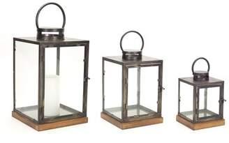 Melrose Intl. 3 Piece Wood/Metal/Glass Lantern Set