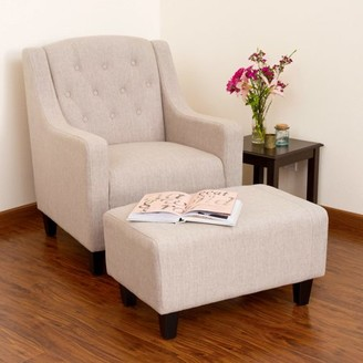BEIGE Noble House Sofia Modern Contemporary Tufted Fabric Chair and Ottoman, Light