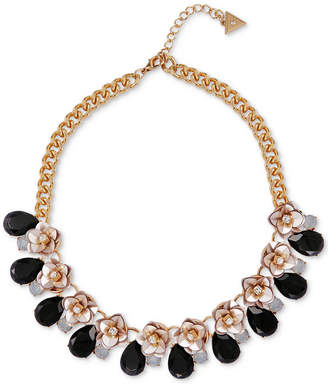 """GUESS Gold-Tone Crystal & Stone Flower Collar Necklace, 16"""" + 2"""" extender"""