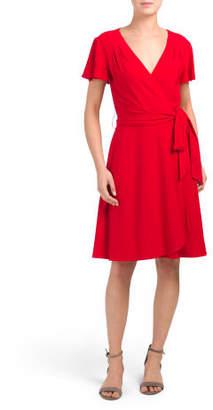 Short Sleeve Matte Jersey Wrap Dress