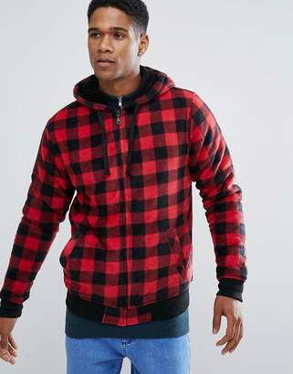 Brave Soul Fleece Check Zip Through sweat Jacket