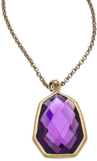 Urban Posh Royal Purple Quartz Septagon Pendant Necklace