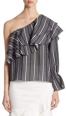 Scripted Ruffled Striped One-Shoulder Bell-Sleeve Top
