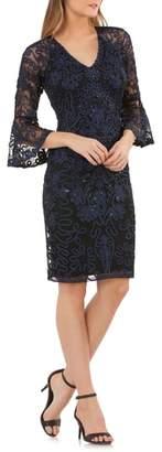 JS Collections Bell Sleeve Bead & Soutache Cocktail Dress
