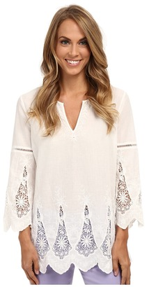 NYDJ Embroidered Eyelet Tunic $118 thestylecure.com