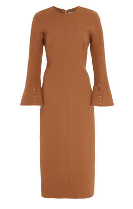 Lela Rose Peplum Pearl-Detailed Wool-Blend Dress