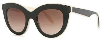 Victoria Beckham Layered Cat Green Cat-eye Sunglasses