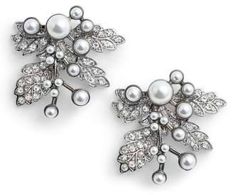 Badgley Mischka Imitation Pearl Crystal Leaf Earrings