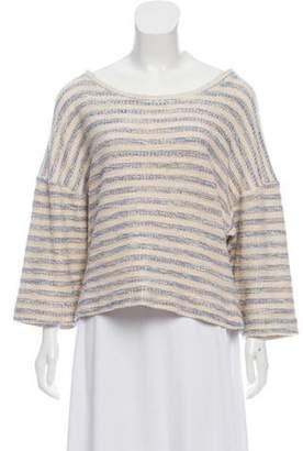 L'Agence Linen-Blend Striped Sweater