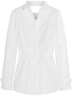 Antonio Berardi Cutout Cotton-Twill Peplum Shirt