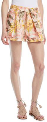 Joie Jaklynn Leaf-Print Pleated Linen Shorts