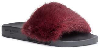 Givenchy Burgundy mink slide sandals