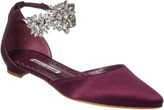 Manolo Blahnik Sicaria Embellished Ankle Strap Flat