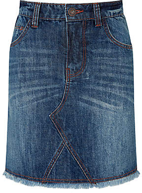 John Lewis Girls' Denim Skirt, Navy