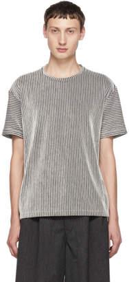 Issey Miyake Black and White Striped Tuck T-Shirt