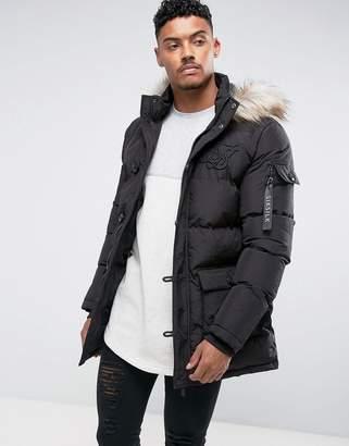 SikSilk Puffer Parka In Black With Faux Fur Hood