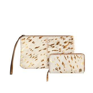 Mahi Leather Matching Clutch & Purse Gift Set In Cream & Copper Pony Hair Leather