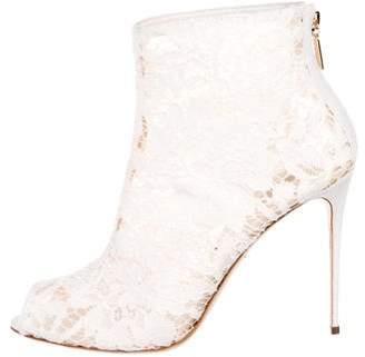 Dolce & Gabbana Lace Peep-Toe Boots