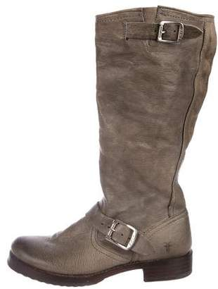 Frye Leather Round-Toe Mid-Calf Boots