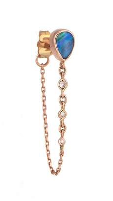 Celine Daoust Single Pear Opal and Diamond Chain Earring