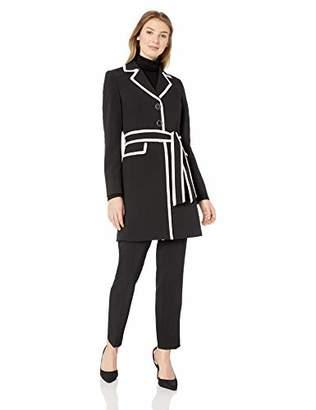 Le Suit Women's 3 Button Notch Collar JKT W/Tie Belt and Matching Pant