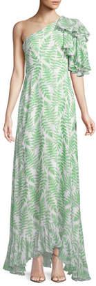 Saloni Danielle One-Shoulder Silk Maxi Dress