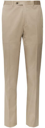 Canali Dark-beige Kei Slim-fit Tapered Stretch-cotton Twill Suit Trousers - Beige