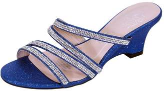 FLORAL Kelly Women Extra Wide Width Rhinestone Strappy Slip On Wedge Heeled Party Sandals 9
