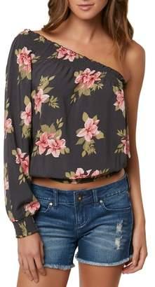O'Neill Bobbie Flower Print One-Shoulder Top