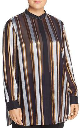 Lafayette 148 New York Plus Brayden Sheer Striped Blouse