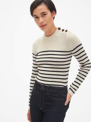 Gap Stripe Button-Shoulder Pullover Sweater
