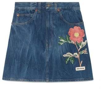 Gucci Embroidered marbled denim mini skirt