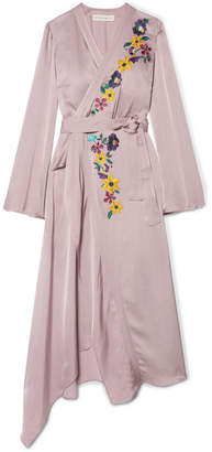 Etro Wrap-effect Embroidered Satin Midi Dress - Lilac