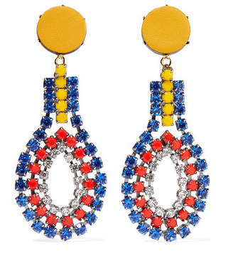 Marni Gold-tone, Crystal And Leather Clip Earrings - Blue