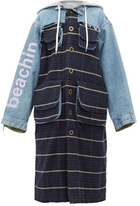 Natasha Zinko Oversized Denim And Checked Coat - Womens - Blue Multi