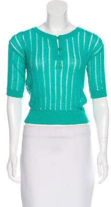 Courreges Knit Button-Up Top