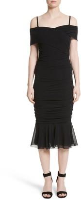 Fuzzi Ruched Tulle Cold Shoulder Dress