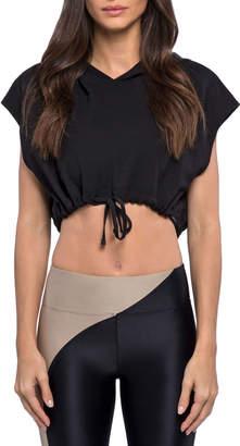Koral Activewear Stranger Daze Hooded Active Crop Top