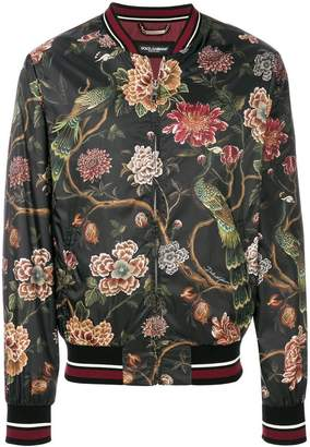 Dolce & Gabbana floral peacock print bomber jacket