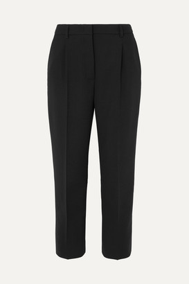 Prada Cropped Stretch-wool Straight-leg Pants - Black