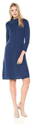 Nine West Women's 3/4 Sleeve A-line Dress with Ribbed Cowl & Trims