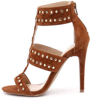 Wanted New Salento Tan Gold Studs Womens Shoes Dress Sandals Heeled