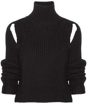 Calvin Klein Cropped Cutout Wool Turtleneck Sweater