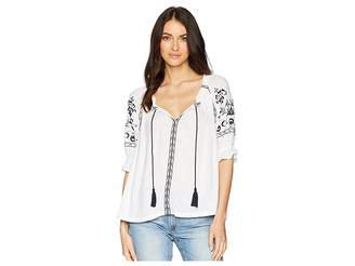 Lucky Brand Embroidered Peasant Top Women's Clothing