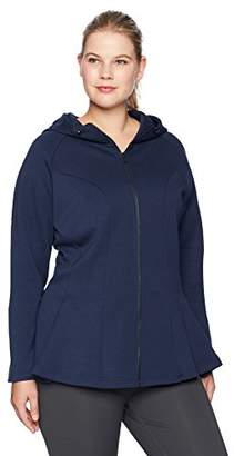 Core 10 Women's Plus Size Tech Fleece Fitted Peplum Full-Zip Hoodie