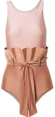 Adriana Degreas - Ruffled Belted Two-tone Swimsuit - Antique rose