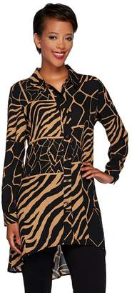 Susan Graver Animal Print Feather Weave Button Front Duster